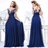 Wholesale Royal Blue Cheap Bridesmaid Dresses See Through A Line Cap Sleeve High Quality Zipper Back Full Length Chiffon China Prom Evening Dress