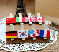 Wholesale 4 bags pieces DIY mini Cute Wooden USA England Flags Clips for Decoration Photo Kids Gift