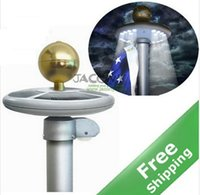 garden flag - Upgraded Solar Flag Pole Flagpole Light LED Top Mount Garden decor