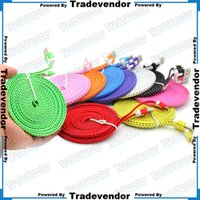 Wholesale 3M FT Flat Wide Knit Fabric Braided Data Charger Charging Cable Wide Fiber Nylon Fabric Woven Cord Lead For Smartphone Mobile Phone