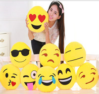 Wholesale Emoji Stuffed Plush Pillows Cartoon Emoji Smiley Pillows Cushion Pillows Yellow Round Pillow Stuffed Plush Toys CM via FedEx ship
