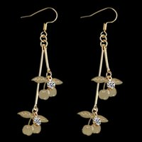 Wholesale 2014 New Arrival Cherry Tassel Shaped Alloy Inlay Rhinestone Earrings Gold Pairs