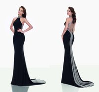 accessories dark blue dress - Elegant Black Evening Dresses Sparkling Accessories Halter Sheer Back Mermaid Prom Dress Sweep Train Red Carpet Celebrity Gowns Tarik Ediz