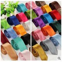 best skinny ties - Best Gift For Mens cm Width Solid Ties Skinny Silk Necktie Plain Men Choker Slim Color Min Order Solid Neck Tie
