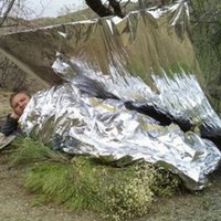 Wholesale Outdoor Pads cm Outdoor Camping Waterproof Emergency Survival Insulation Foil Thermal First Aid Rescue Blanket Disaster Response Tool
