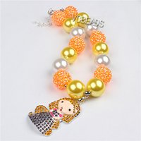 beaded christmas ornament - Christmas Ornaments Necklaces Kids Necklace Rhinestone Princess Pendant DIY Bead for Christmas Party Decoration Clothing Dress Accessories