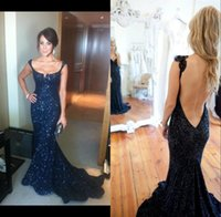 Wholesale Top Selling Spaghetti Straps Backless Evening Party Dresses Sequin Lace Bling Sweep Train Dark Blue Mermaid Evening Dress Custom Made
