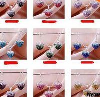 handmade clay pendant - hotsale handmade Mixed Colors beads clay heart silver plated Shamballal Crystal necklace gradual change pendant drop earring