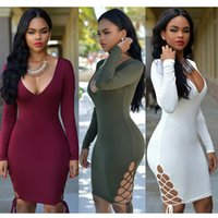 bell packages - Sexy Club Dress Women Fashion Bandage Night Club Bodycon Dress Long Sleeve Deep V Package Hip Slim Party Dresses Vestidos