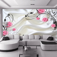 background for sale - HOT sale can be customized large mural D wallpaper bedroom living room modern fashion rose red flowers roses milky TV background wall paper