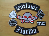 "Quilt Accessories   Embroidery ""outlaws florida ""Patches for Jacket Back Full Size and Full Set"