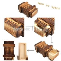Wholesale Kid Funny Vintage Wooden Magic Box Secret Puzzle Drawer Size L Brain Teaser Toy