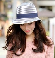 natural straw hat - Europe and the color matching of natural grass weaving fall beach fashion hat border cap straw hat girl and women summer hat