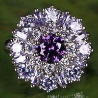 Wholesale 2014 Fashion New AR1 Round Cut Amethyst Tourmaline Gemstone Silver Ring Size A0019