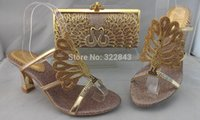 Wholesale Coffee Color Shoe Man - Wholesale-Free Shipping summer newest lady high heels Elegant Italian Shoes and Bag Set for wedding and party AJ008 coffee color