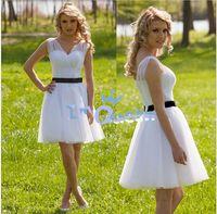 Wholesale New A Line Chiffon Mini Short Prom Dresses Tank V Neck Pleated Prom Dresses Party Gown Black Sash Short Sexy White wedding dresses