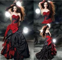 red and black wedding dresses - 2015 hot selling Red and Black Wedding Dresses Taffeta Wedding Gown Beads Appliques Bow Sash Ruffles A line Wedding Dress