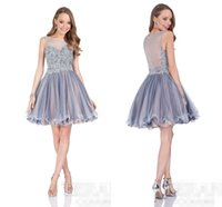 Wholesale Cheap Sexy New Years Dresses - Cheap Silver Organza Homecoming Dress 2016 Pleated Girls Graduation Dresses See Through Back Girls New Years Party Cocktail Gowns Appliques