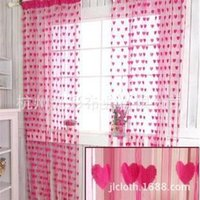 bamboo curtain - New home decor sunscreen peach multicolor heart shaped partition type cloth gauze curtains