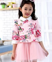 floral print dress - Princess Girls Dresses For Big Girl Dress Summer Brand Kids Floral Flower Printed Patchwork Tulle Short Sleeve Dressy Pink White I3037