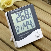 Wholesale 1pcs Alarm Clock Thermometer temperature LCD Digital Humidity Hygrometer Meter for Home and Office