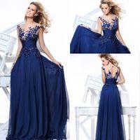 Wholesale Hot Sale Dark Blue Chiffon A Line Floor Length Evening Dresses Bateau Cap Sleeves Applique Sequins Prom Gowns