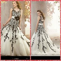 bargain bridal gowns - Black And White Lace Appliques Mermaid Wedding Dresses Handmade Flowers Ribbon Chapel Bridal Gowns Bargains Bridal Gowns Cheap