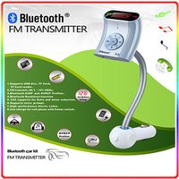 Wholesale New in Bluetooth Adapter Car MP3 Player Wireless Car Bluetooth FM Transmitter Car Kit with USB bluetooth radio DHL