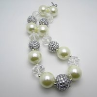 Wholesale New Fashion White Crystal Pearl Kids Girls Chunky Necklace Bubblegum Beaded Necklace For Children Jewelry