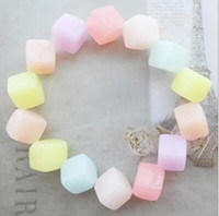 Wholesale 50pcs Korean Fashion Jewelry Womens galaxy Diamond Bracelet Girls Sweet Cute Candy Color Jelly Beads Bracelet Silicone Glow BFH1034