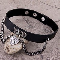 stainless steel collar - 2015 Cute Cool Heart Dangle Pendant Chain Punk Goth Leather Necklace Collar Choker