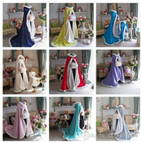 Chiffon hooded cloak - 2015 High Quality Stunning Hooded Bridal Capes Colorful Red Chrismas Wedding Cloaks Faux Fur For Winter Wedding Bridal Cloaks Bridal Wraps