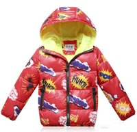 Wholesale Boy Winter Monogram long sleeved white duck down hooded baby casual cotton clothes CM boy short style student warm jacket ZJ1243