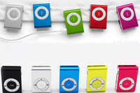 Wholesale Mini Clip MP3 Music Player Support Micro TF SD Memory Card Slot With Cable Earphone Crystal Retail Boxes Without Screen Discount Cheap Sale