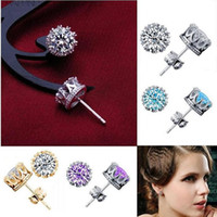 Wholesale 925 Sterling Silver Crown Earrings CZ Diamond Crystal Stud Earrings for Women Girl Wedding Party Fashion Jewelry Wholesales WH