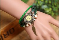Wholesale best sell unisex man woman Leather Vintage Bracelet Watch Wristwatches Pendant Retro angle wing Watch