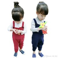 bib brace overalls - For cm INS Hot Sale European Spring Autumn Kids Pure Cotton Wool Knit Trousers Infant Baby Overalls Bib Pant With Braces Children