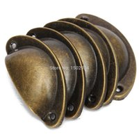 Wholesale 20pcs Cupboard Door Cabinet Cup Drawer Furniture Antique Shell Pull Handle Screws cm long Shell iron handle