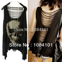Wholesale 2014 Limited New Arrival Hollow Out Regular Silk Kimono Women Blouses Vintage Open Back Skull Punk Singlet Tee T Shirt Sexy Lady