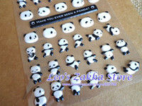 Wholesale Cute Panda Puffy Stciker Dairy Decoration Sticker Scapbook Sticker packs