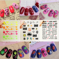 beautiful nail tips - 24 Styles New D Colorful Nail Art Stickers Tips Stickers Decal Wraps Acrylic Manicure Decorations Beautiful Fluorescence