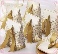 Wholesale Party Supplies Party Decoration Creative Golden Silver Ribbon Wedding Favours Party Gift Candy Paper Box birthday party supplies