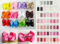 Wholesale inches Solid Grosgrain Ribbon Hair Bows with French Clip
