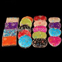 double vanity - 100pcs Vanity Makeup Mirrors Compact Mirror Silk Fabric Double sided Cosmetic Mirror New Fashion Hot style