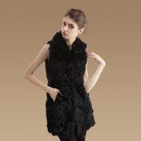 Wholesale woman furs coat rabbit fur vest fashion real fur coat hooded sleeveless winter dresses