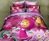 100% Cotton bedspreads twin beds - Masha bear Kids baby girls bedding set for twin full queen size children cartoon duvet quilt cover bedspread bed sheets bedroom bed in a bag