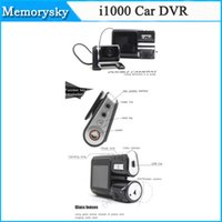 10pcs / lot i1000 coche DVR de doble cámara de doble lente de la videocámara HD 1080P Dash Cam Box Negro Con trasero 2 Cam Vehículo Ver Dashboard en stock 002780