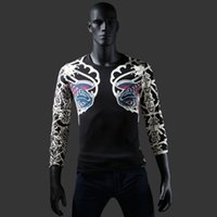 pattern tattoo designs - Slim Fitted Mens Casual Tee Long Sleeve Shirt Japan Ukiyoe Tattoo Art Design Carp Pattern Print T Shirt