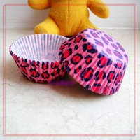 Wholesale Sexy Pink Leopard Greaseproof Paper Muffin Cupcake Cups Box For Christmas Parties