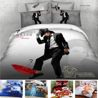 Cheap Wholesale-marilyn monroe bedding set 3D 100% cotton Michael Jackson American flag christmas red duvet cover sheet set king size